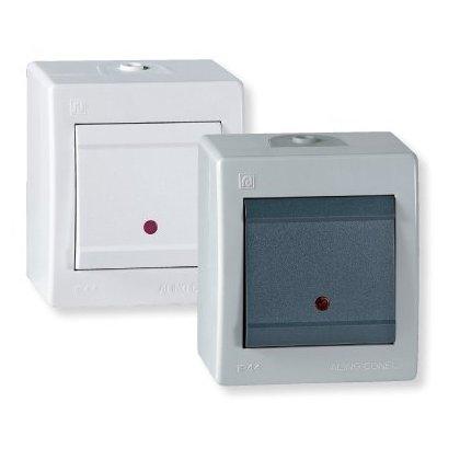 Jednopolna sklopka indikatorska za na zid IP 44 16AX 250V~ siva