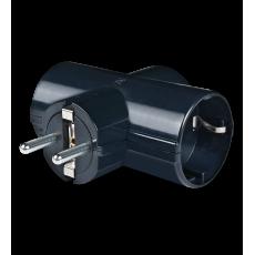"Kombinovani utikač sa 3 priključnice sa kontaktom za uzemljenje ""T"" razvodnik"